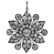Antique Victorian Era 7.80 Ct Diamond Pendant