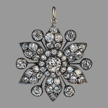 Antique Victorian Era 7.80 Ct Diamond Pendant