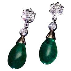 10.14 Ct Brazilian Emerald and Old Cut Diamond Drop Earrings