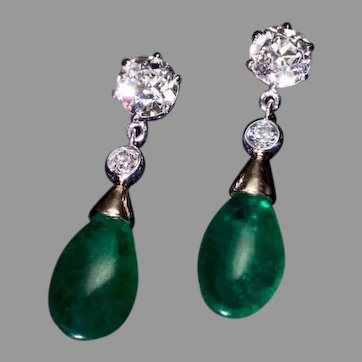 10.14 Ct Brazilian Emerald and Old Cut Diamond Drop Earrings