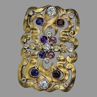 Art Nouveau Antique Russian Jeweled Gold Buckle Shaped Brooch