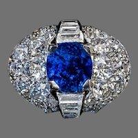 Vintage 5 Ct Ceylon Sapphire Diamond Ring