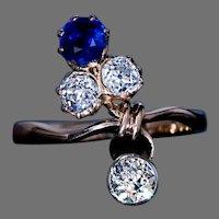Art Nouveau Sapphire Diamond Gold Flower Ring