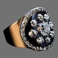Rare Antique Black Enamel Diamond Gold Unisex Ring