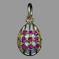 Antique Russian Gold Ruby Enamel Egg Pendant