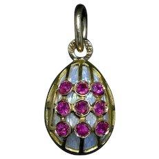 Antique Russian Gold Ruby Enamel Egg Pendant