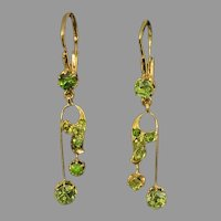Antique Russian Art Nouveau Demantoid Gold Earrings