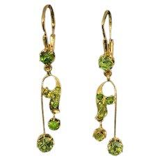 Antique Russian Art Nouveau Demantoid Gold Earrings