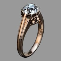 Antique 1.14 Ct Rose Cut Diamond Engagement Ring
