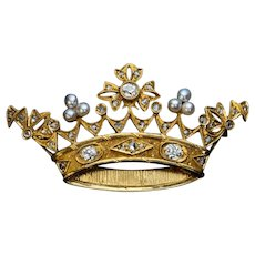 Antique Diamond Pearl Gold Crown Brooch