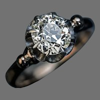 Antique Russian 1.52 Ct Old Mine Diamond Engagement Ring
