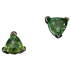 2.08 Ct Russian Demantoid Gold Triangular Earrings