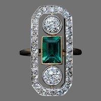 Art Deco Antique Emerald Diamond Ring
