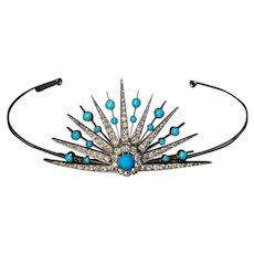 Antique 19th Century Turquoise Diamond Sunburst Tiara