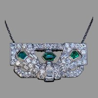 Art Deco Emerald Diamond Platinum Brooch / Pendant
