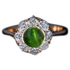 Unique Cat's Eye Russian Demantoid Diamond Ring