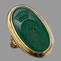 Antique Chrysoprase Gold Signet Ring