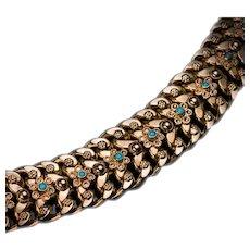 Vintage Turquoise High Karat Gold Link Bracelet
