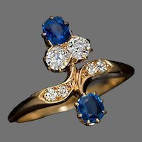 Antique Floral Bypass Sapphire Diamond Gold Ring