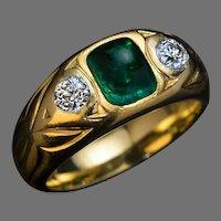 Antique Emerald Diamond Three Stone 18K Gold Unisex Ring