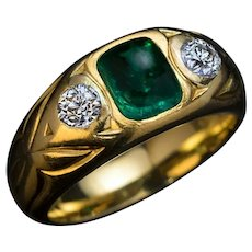 Antique Emerald Diamond Three Stone 18K Gold Unisex Ring