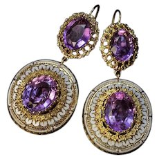 Antique Amethyst Enamel Gold Victorian Earrings 19th Century