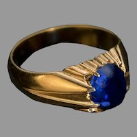 Antique Russian 2.30 Ct Cabochon Sapphire Gold Ring