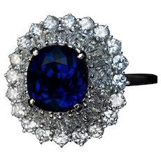 Vintage Sapphire Diamond Platinum Ring by Chaumet