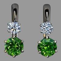 2.60 Ct Russian Demantoid Diamond Gold Earrings