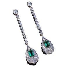 Antique Art Deco Emerald Diamond Ear Pendants