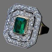 Antique Art Deco Emerald Diamond Platinum Gold Ring
