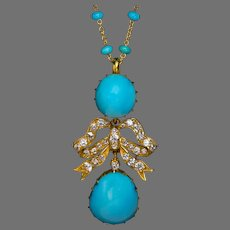 Antique Persian Turquoise Diamond Gold Necklace