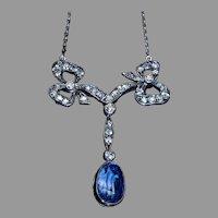 Belle Epoque Antique Sapphire Diamond Necklace