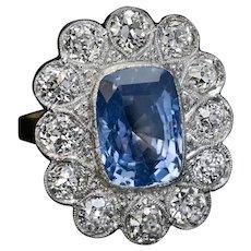Antique Sapphire Diamond Platinum Gold Ring