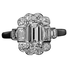 Art Deco Vintage Diamond White Gold Engagement Ring