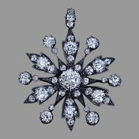 Antique Late 19th Century Diamond Brooch Necklace