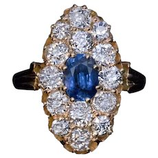Antique Sapphire Old Mine Cut Diamond Cluster Ring