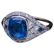 Antique 3.37 Ct Sapphire Diamond Engagement Ring