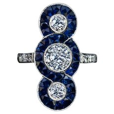 Antique Diamond Calibré Cut Sapphire Platinum Ring