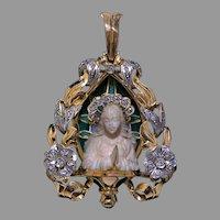 Art Nouveau Antique Gold Platinum Madonna Pendant