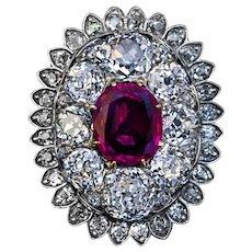 Antique 19th Century Burma Ruby Diamond Pendant