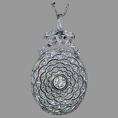 Belle Epoque Antique Diamond Platinum Locket Necklace