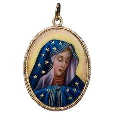 Antique Madonna Dolorosa Enamel Gold Pendant