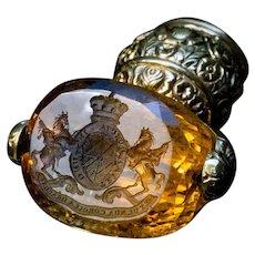 Antique Gold Mounted Citrine Desk Seal c.1815