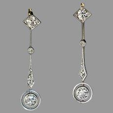 Antique Diamond Platinum Gold Drop Earrings
