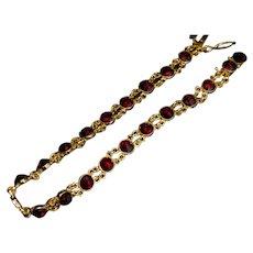 Vintage Bohemian Red Garnet Gold Bracelet