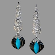 Art Deco Onyx Turquoise Diamond Platinum Earrings