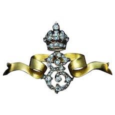 Empress Elisabeth Diamond Cipher Gold Brooch