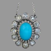 19th Century Antique Turquoise Diamond Necklace