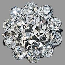Vintage 3.60 Ct Old Mine Cut Diamond Engagement Ring